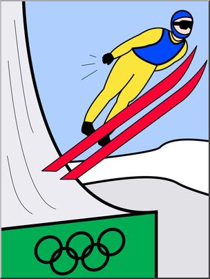 304x404 Clip Art Winter Olympics Ski Jumping Color I Abcteach