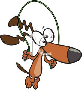 273x300 A Dog With A Jump Rope Clip Art Image