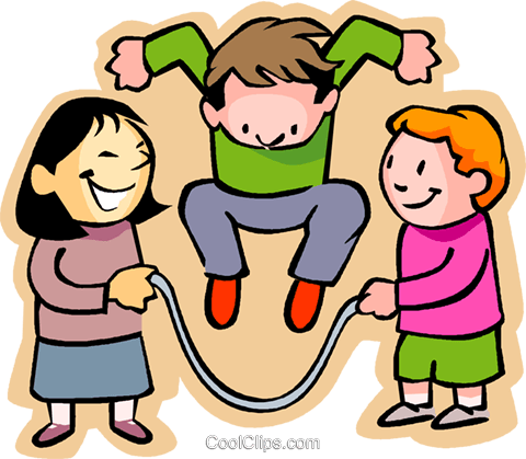 480x419 Little Boy With Girls Skipping Rope Royalty Free Vector Clip Art