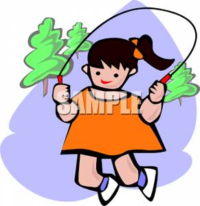 291x300 Clip Art Image A Girl Skipping Rope
