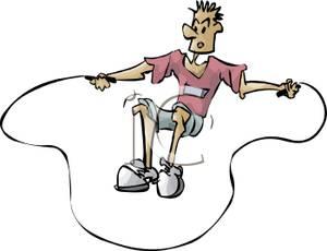 300x230 Clip Art Image A Man Jumping Rope