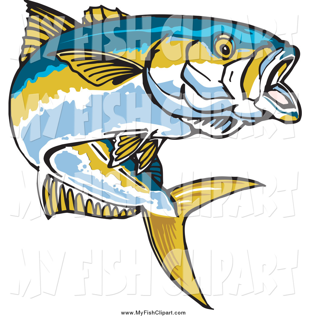 1024x1044 Clip Art Of A Yellowtail Fish Jumping By Dennis Holmes Designs