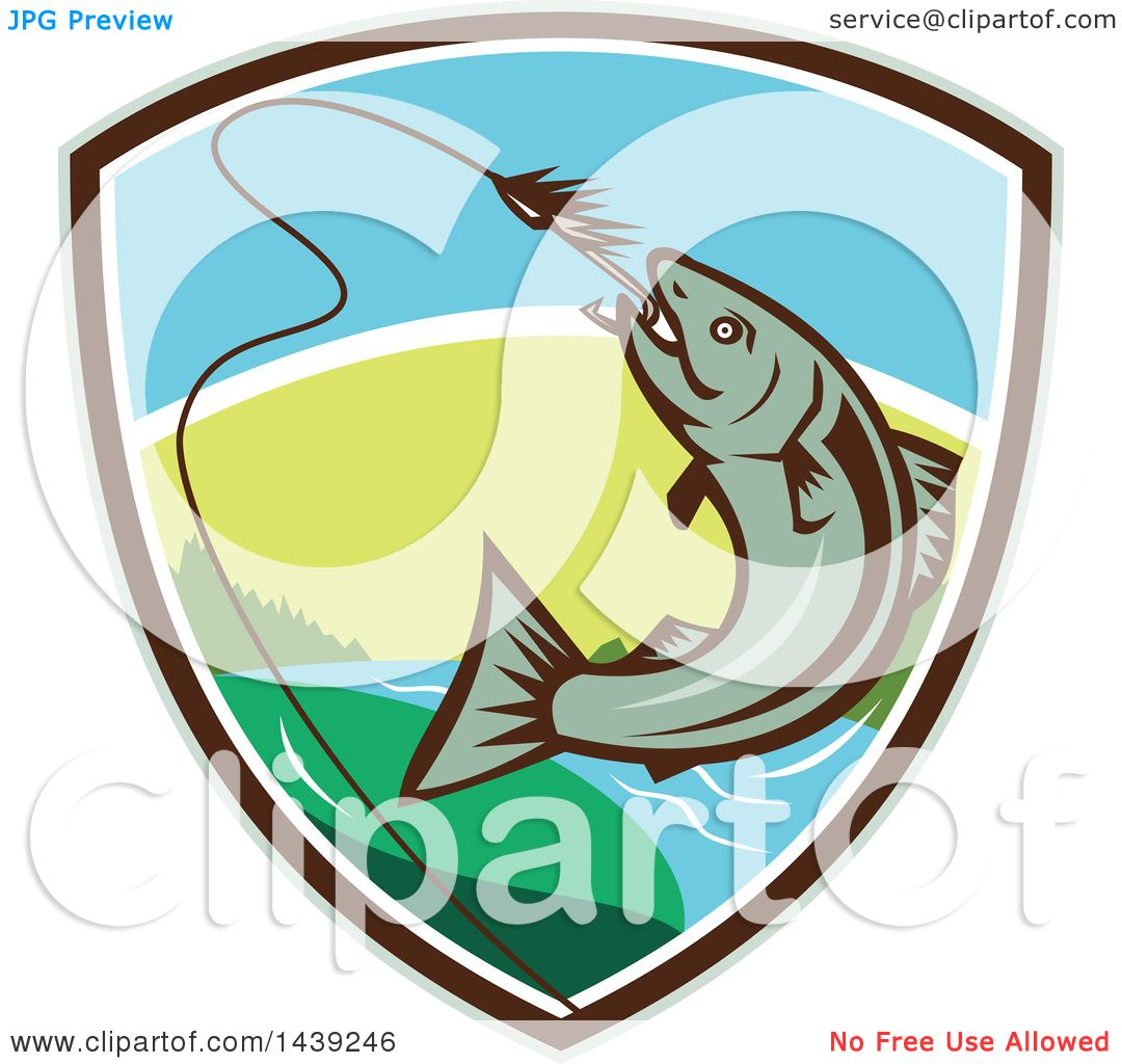 1080x1024 Clipart Of A Retro Trout Fish Jumping To Bite A Hook In A Shield