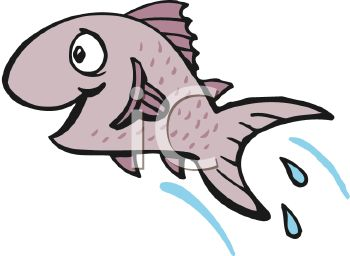 350x256 Happy Cartoon Fish Leaping Or Jumping From The Water