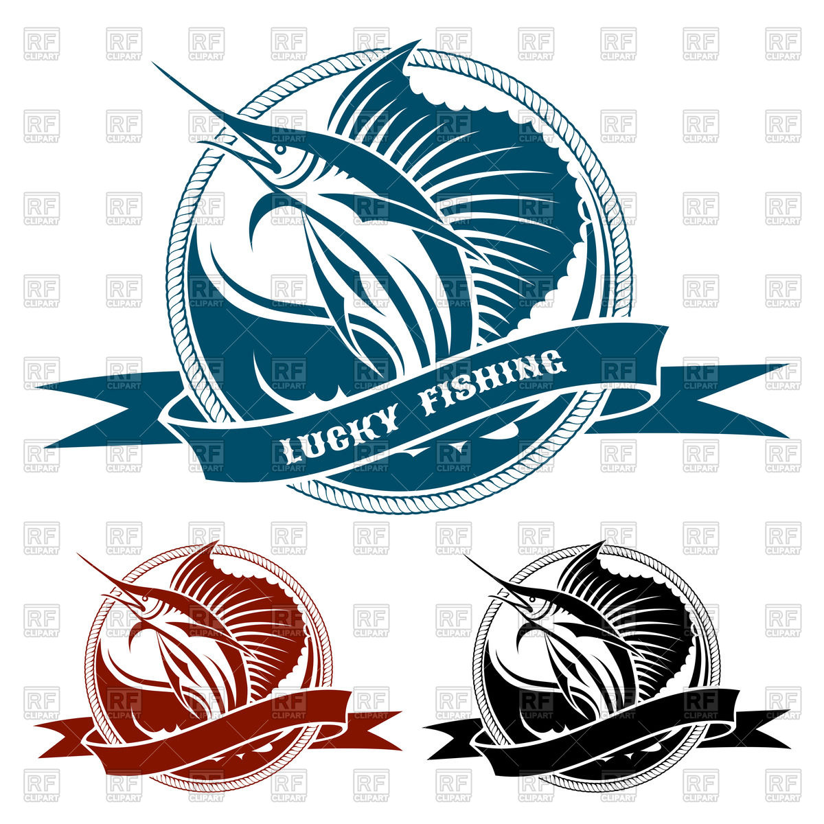 1200x1200 Retro Labels With Jumping Fish