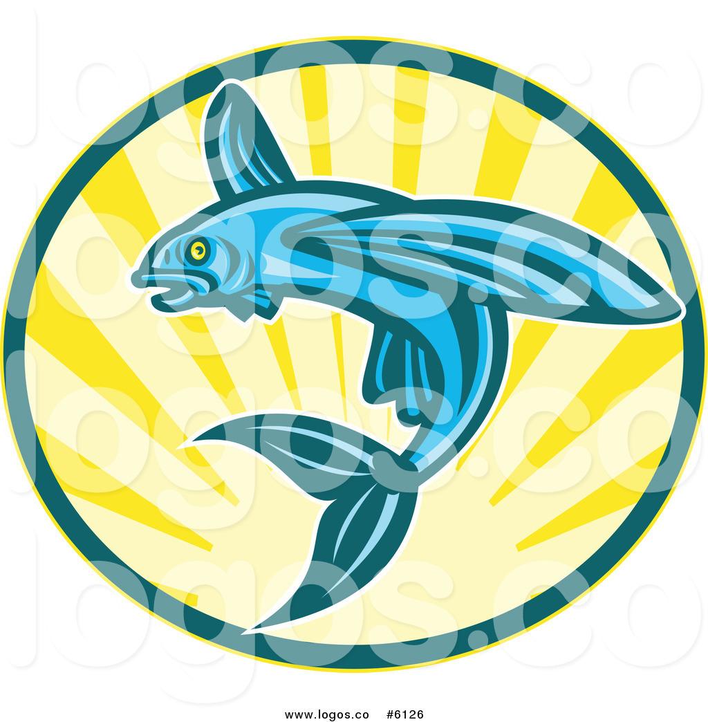 1024x1044 Royalty Free Clip Art Vector Logo Of A Blue Flying Fish Jumping