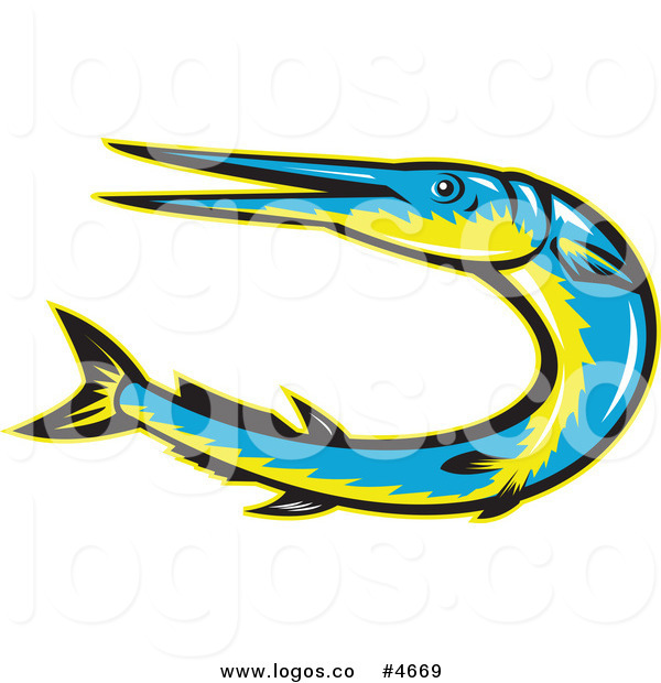 600x620 Royalty Free Vector Of A Logo Of A Blue And Yellow Needle Fish