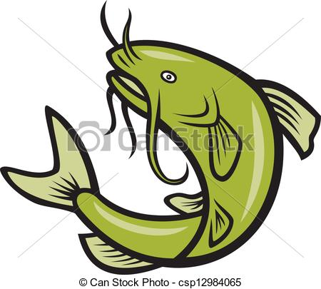 450x405 Catfish Fish Jumping Cartoon. Illustration Of A Catfish Clip