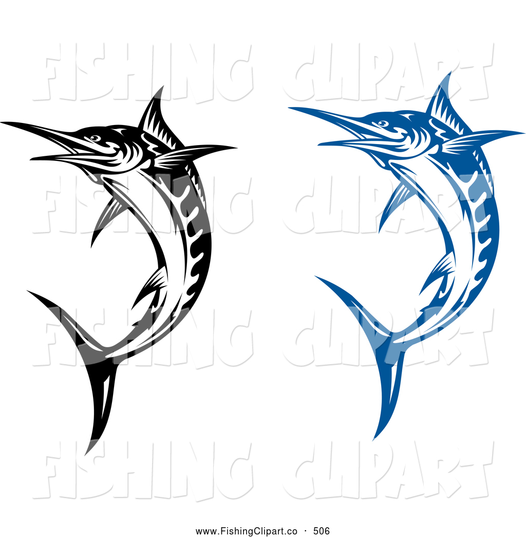 1024x1044 Clip Art Of Jumping Blue And Black And White Billfish By Vector