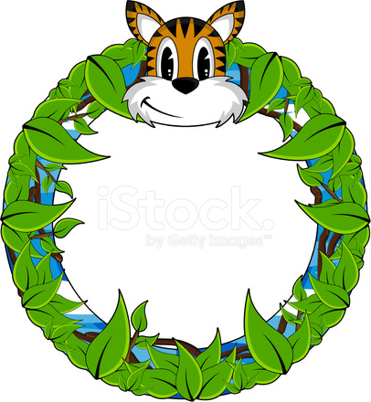 406x440 Tiger In Jungle Frame Stock Vector