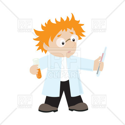 400x400 Funny Red Haired Cartoon Scientist Royalty Free Vector Clip Art