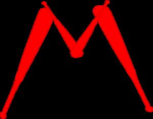 300x234 Red M Out Of Baseball Bats Clip Art