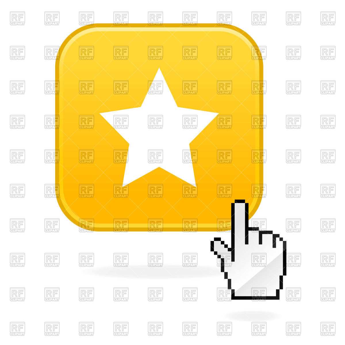1200x1200 Yellow Star Icon And Cursor Hand Royalty Free Vector Clip Art