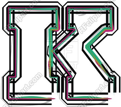 400x352 Color Line Font Uppercase Letter K Royalty Free Vector Clip Art