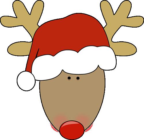 500x488 Reindeer Wearing A Santa Hat. Christmas Clip Art