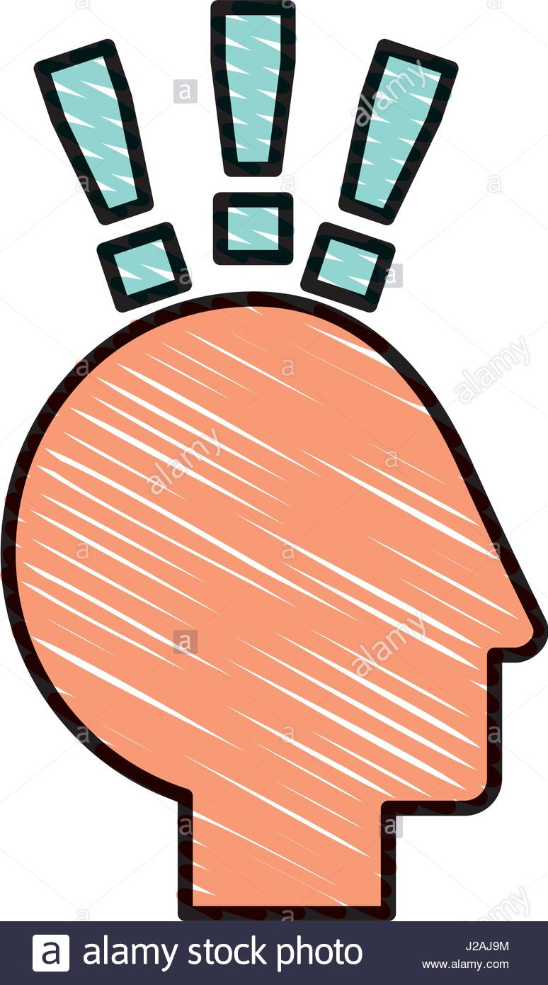 774x1390 Human Head Profile With Exclamation Mark Stock Vector Art