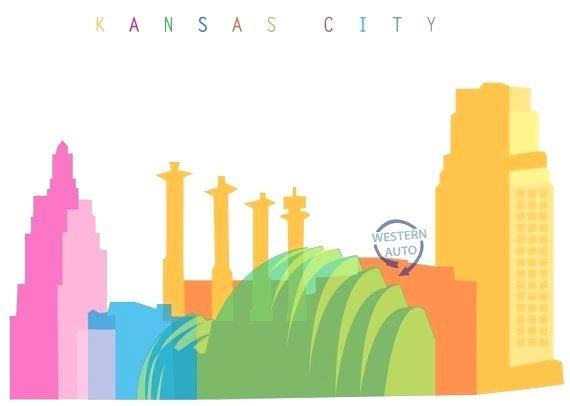 570x406 Kansas City Skyline Art City Skyline Art Print Colourful