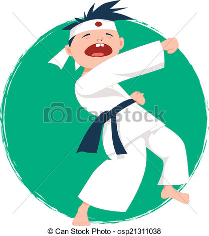 417x470 Little Boy Doing Karate. Asian Kid In Kimono Doing Karate