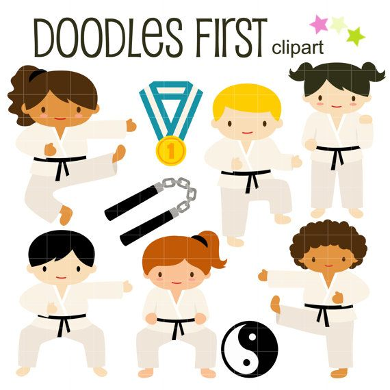 570x570 Karate Kids Clip Art For Scrapbooking Card Making Cupcake Toppers