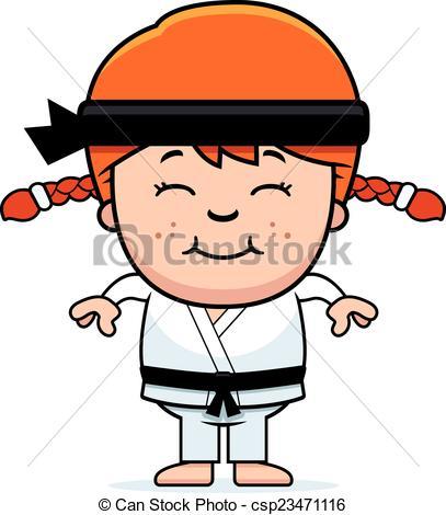 407x470 Smiling Cartoon Karate Kid. A Cartoon Illustration Of A Vector