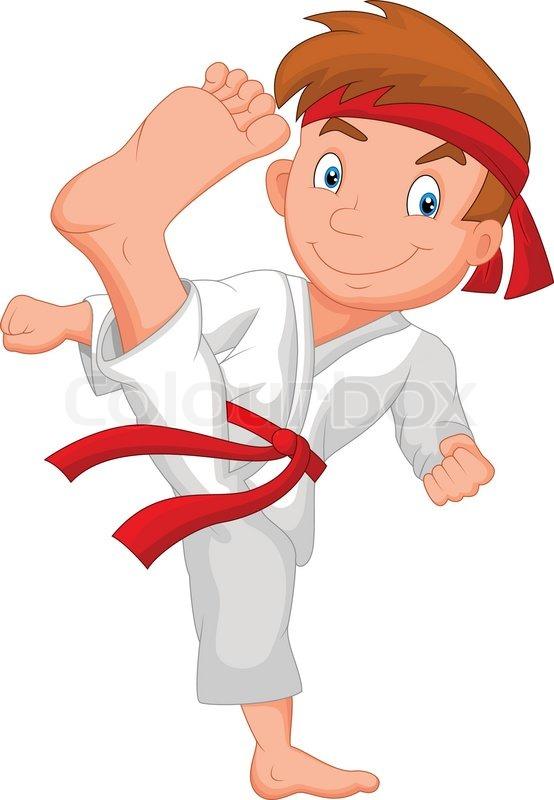 554x800 Vector Illustration Of Little Boy Cartoon Training Karate Stock