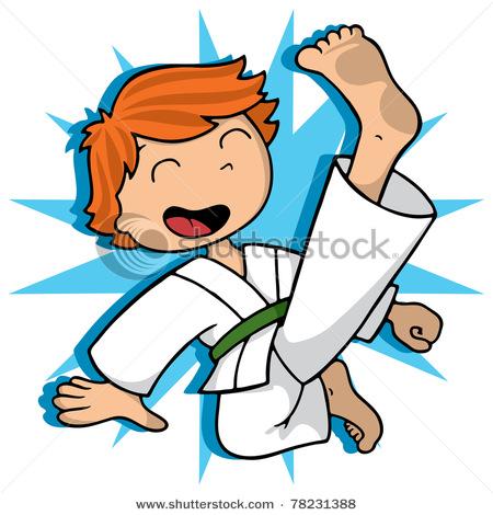 450x470 Cartoon Boy Practicing And Exercising Flying Karate Kick