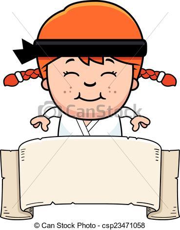 369x470 Cartoon Karate Kid Banner. A Cartoon Illustration Of A Clipart