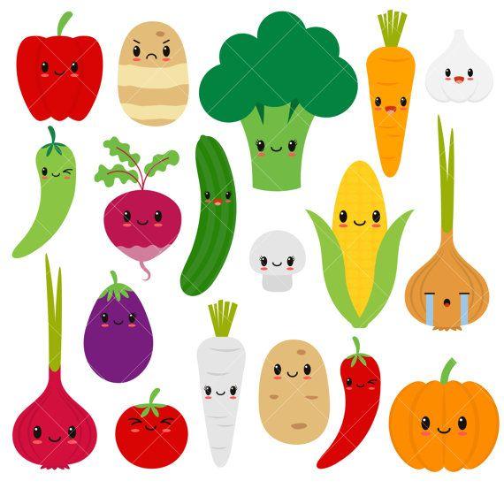 570x570 Kawaii Vegetables Cute Vegetable Clipart Happy Veggies