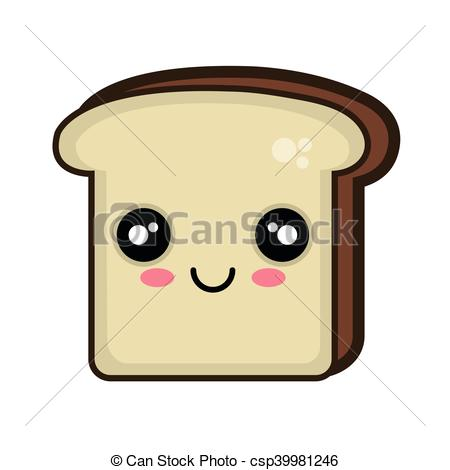 450x470 Kawaii Cartoon Bread Slice. Bread Slice. Kawaii Cartoon