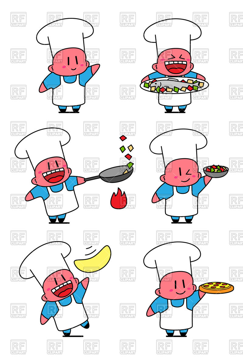 800x1200 Set Of Kawaii Cook In Various Situations. Chef Cooking. Royalty