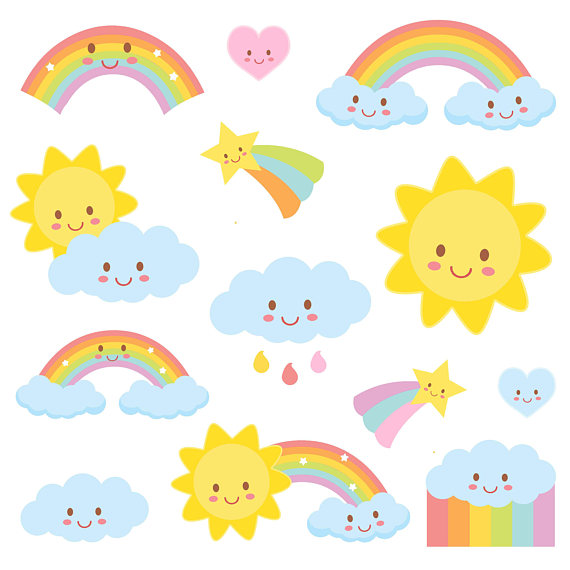 570x570 Weather Clipart, Rainbow Clipart, Weather Party, Commercial Use