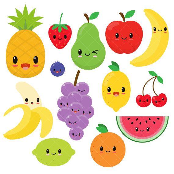 570x570 Fruits Clipart Kawaii Fruit Cute Fruit Clipart Happy Fruit Clip
