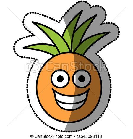 450x470 Colorful Kawaii Fruit Pineapple Happy Icon, Vector Vector Clip