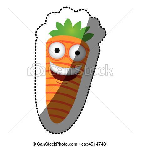 450x470 Colorful Kawaii Happy Carrot Icon, Vector Illustraction Vector
