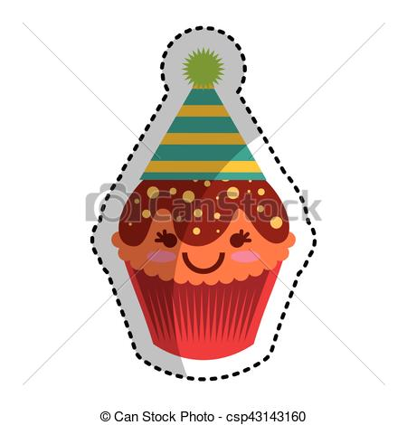 450x470 Cupcake Character Kawaii With Party Hat Vector Illustration