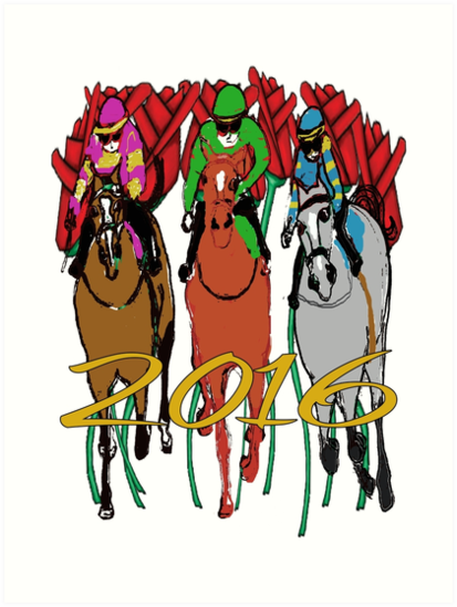 413x549 Kentucky Derby 2016 Racehorses Art Prints By Ginny Luttrell