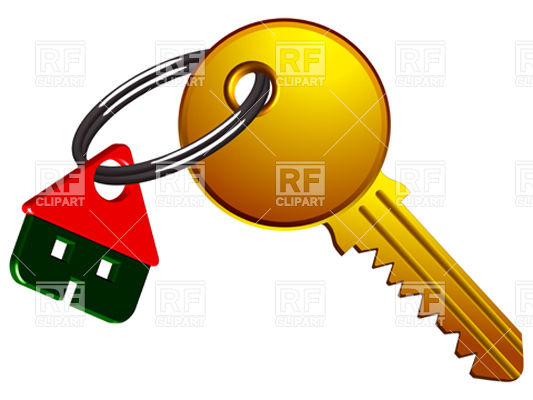 533x400 Golden Key With House Key Ring Royalty Free Vector Clip Art Image