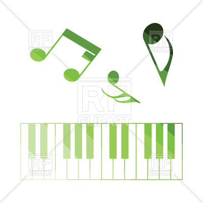 400x400 Flat Color Design Of Piano Keyboard Icon Royalty Free Vector Clip