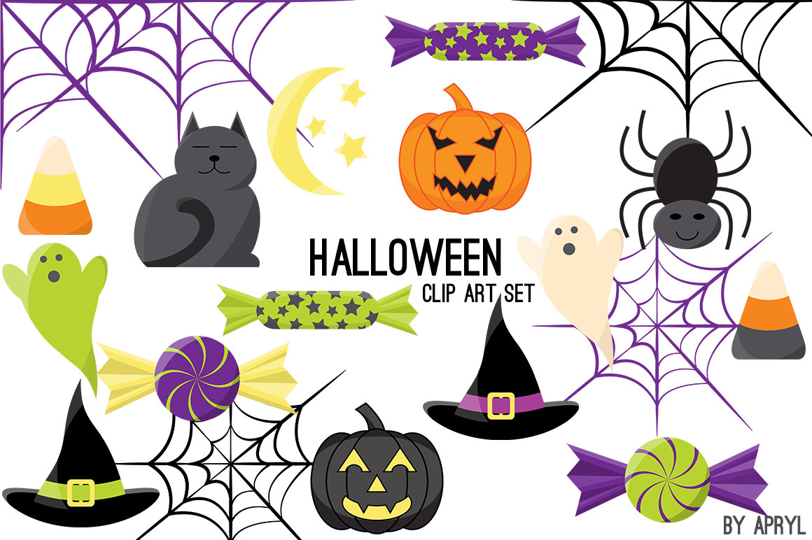 1160x772 Halloween Clipart Cat Bat Jack O Lantern Pumpkin Spider Web Candy