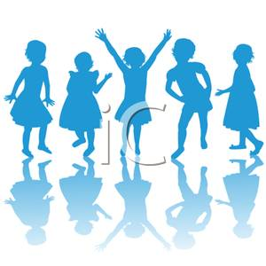 300x300 Clip Art Image Blue Silhouettes Of Playing Kids
