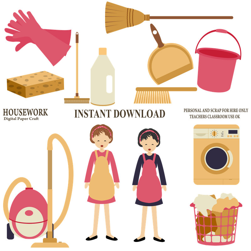 800x800 Housework Clipart, Cleaning Clipart, Organiser Clipart,chores