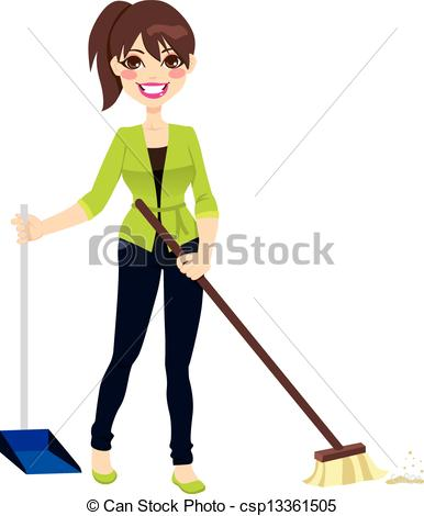 386x470 Woman Sweeping Floor. Woman Doing Chores Sweeping The Floor