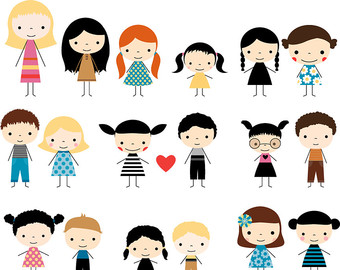 340x270 Cute Kid Faces Clipart Set Children Clipart Head Kawaii Boy