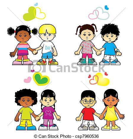 450x470 Children Love Each Other Clip Art Vector