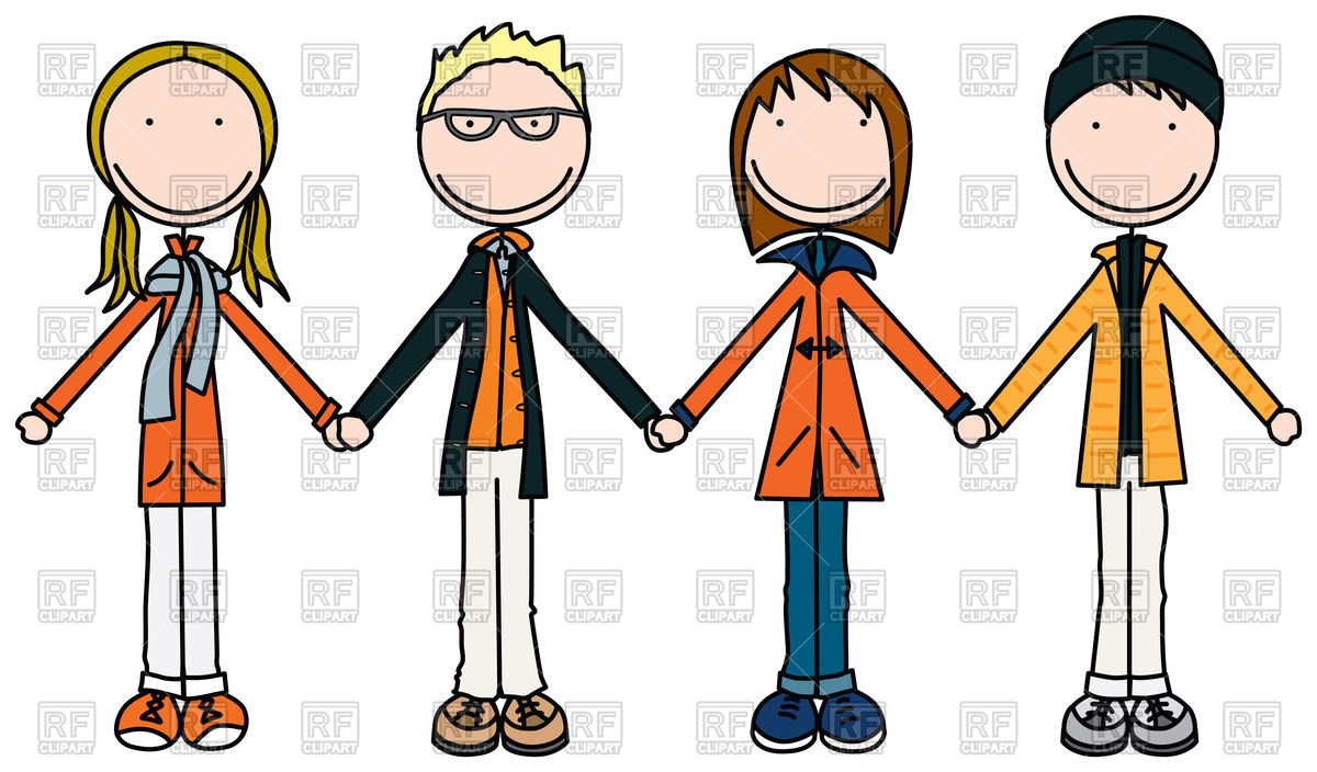 1200x704 Kids Holding Hands In Winter Clothes Royalty Free Vector Clip Art