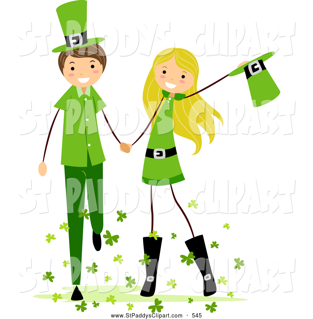 1024x1044 Vector Clip Art Of St Patricks Day Stick Kids Holding Hands By Bnp