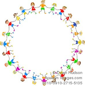 295x300 Clipart Illustration Of A Group Of Caucasian Children Holding Hands
