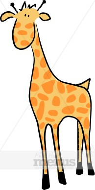 194x388 Giraffe Clip Art Kids Menu Clipart