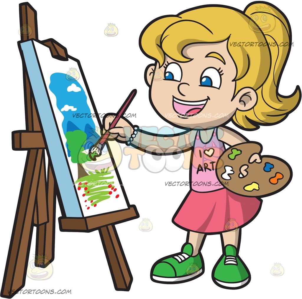 1024x1015 A Girl Painting A Landscape Cartoon Clipart Vector Toons