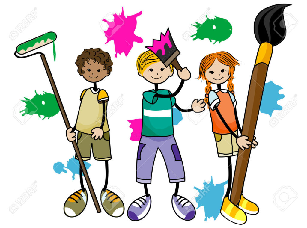 1024x761 Painting Kids With Clipping Path Royalty Free Cliparts Vectors